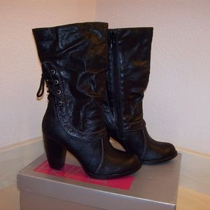 Women Black 5.5 Back Lace Up Side Zipper Boots